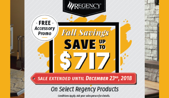 Regency Fireplace Fall Savings Sale on Wood Burning, Gas Inserts, Direct-Vent Gas Fireplaces and Gas Stoves