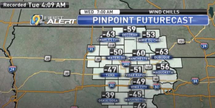 Sub-Zero Temperatures - Cedar Rapids, Iowa City, North Liberty, Eastern Iowa