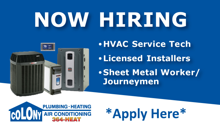 Now-Hiring-HVAC-Service-Technician-Licensed-Installer-Sheet-Metal-Worker-Journeymen-Colony-Plumbing-Heating-Air-Conditioning-Cedar-Rapids-Iowa-City